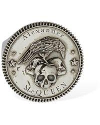 Alexander McQueen Crow & Skull Open Signet Ring - Metallic