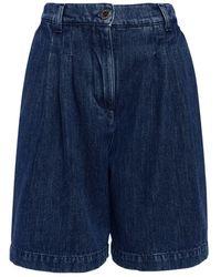 Alberta Ferretti Cotton Denim Bermuda Shorts - Blue