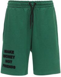MAKE MONEY NOT FRIENDS Logo Neon Cotton Jersey Sweat Shorts - Green