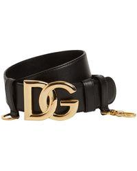 Dolce & Gabbana Dg レザーベルト 4cm - ブラック