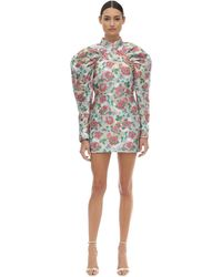 ROTATE BIRGER CHRISTENSEN Puffed Sleeve Brocade Mini Dress - Multicolour