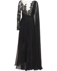 Zuhair Murad Длинное Платье Из Шифона - Черный