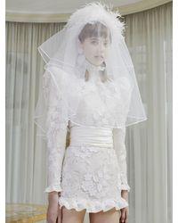 Alessandra Rich Robe Courte En Tulle Embelli - Blanc