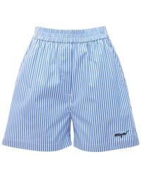 MSGM Shorts In Popeline - Blu