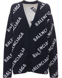 Balenciaga ウールニットカーディガン - ブルー