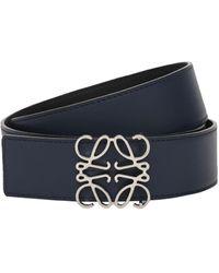 Loewe 4cm Reversible Anagram Leather Belt - Blue