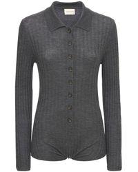 Loulou Studio Hierro Wool Blend Rib Knit L/s Bodysuit - Grey