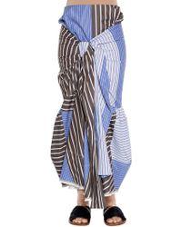 Marni - Patchwork Striped Poplin Skirt - Lyst