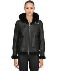 Schott Nyc Lcw 1257 Hooded Leather Aviator Jacket - Black