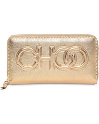 Jimmy Choo - Bettina Embossed Logo Leather Wallet - Lyst