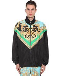 Versace Спортивная Куртка Из Нейлона С Принтом Heritage - Черный