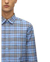 Burberry Hemd aus Stretchbaumwollpopelin mit Vintage Check-Muster - Blau