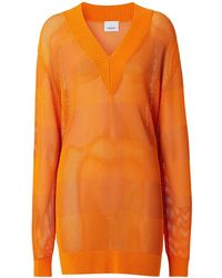 "Burberry Pull-over En Maille Col En V ""zoie"" - Orange"