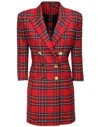 Balmain Stretch Tartan Mini Jacket Dress - Red