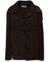 Maison Margiela Suede Jacket W/ Fringes - Brown