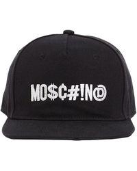 Moschino Logo Embroidered Cotton Canvas Flat Cap - Black
