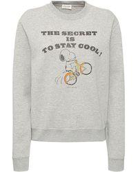 Saint Laurent Sweatshirt Aus Baumwollmischung Mit Druck - Grau