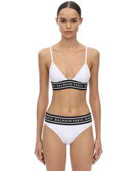 Balmain Bikini Aus Lycra Mit Logo - Weiß