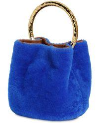 Marni Pannier Shearling Bucket Bag - Blue