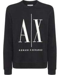Armani Exchange コットンジャージースウェットシャツ - ブラック