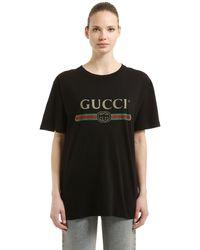 Gucci Übergroßer T-Shirt mit Logo - Schwarz