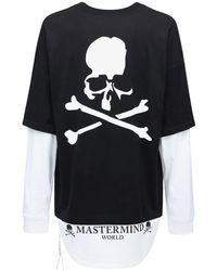MASTERMIND WORLD Boxy レイヤーコットンジャージーtシャツ - ブラック