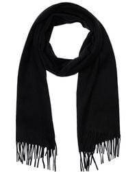 Saint Laurent Fringed Cashmere Knit Scarf - Black