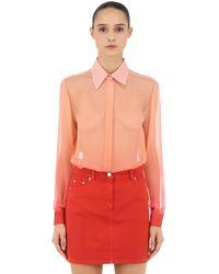 Alberta Ferretti シアーシルククレープ グラデーションシャツ - ピンク