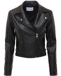 Calvin Klein エコレザーバイカージャケット - ブラック
