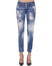 """DSquared² Kürzere Jeans Aus Denim """"jennifer"""" - Blau"""
