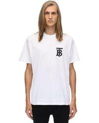 Burberry T-shirt Aus Baumwolljersey Mit Logodruck - Weiß
