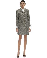 Gucci Short Flamed Tweed Quilted Coat - Grey
