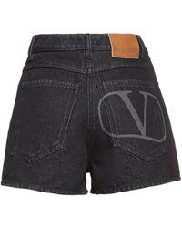 Valentino Go Logo コットンデニムショートパンツ - ブラック