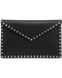 Valentino - Rockstud Embellished Leather Pouch - Lyst