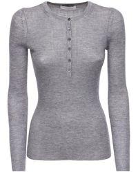 Gabriela Hearst Buttoned Cashmere & Silk Knit Top - Grey