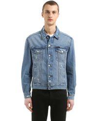 Calvin Klein - Distressed Cotton Denim Trucker Jacket - Lyst
