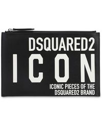 DSquared² Icon Printed Leather Pouch - Black