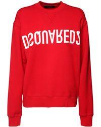 DSquared² Reverse Dsq2 コットンジャージースウェットシャツ - レッド