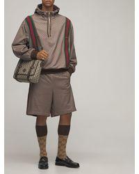 Gucci Jersey-hoodie Mit Mini-gg-muster - Braun
