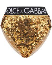 Dolce & Gabbana Slip Mit Hohem Bund, Logo Und Pailletten - Mettallic