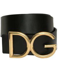 Dolce & Gabbana - 40mm Dg Buckle Leather Belt - Lyst