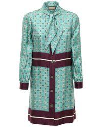 Gucci Платье Из Шелка С Принтом - Зеленый