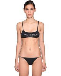 DSquared² Top Bikini In Lycra - Nero