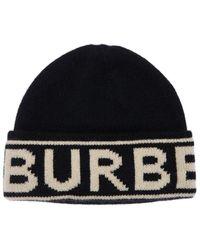 Burberry Beaniemütze Aus Wollstrick Mit Logointarsie - Schwarz