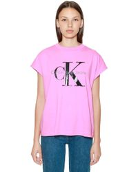 Calvin Klein Jeans - Ck Logo Printed Cotton T-shirt - Lyst