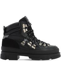 Ganni 45mm Sporty Leather Hiking Boots - Black