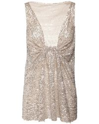 Rochas - Draped Sequined Top - Lyst