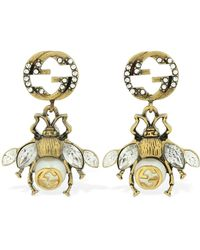Gucci Bee-motif Aged Gold-toned Crystal And Faux-pearl Earrings - Metallic