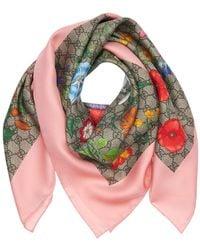 Gucci Flora Printed Silk Scarf - Pink