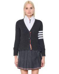 Thom Browne - Intarsia Stripes Cashmere Knit Cardigan - Lyst